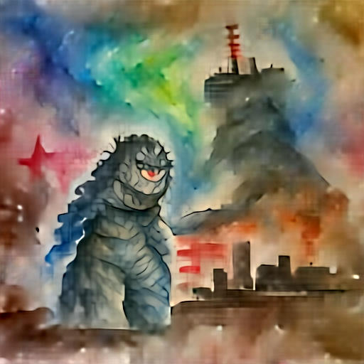 'a watercolor painting of Godzilla' Aleph2Image Dall-E Remake Text-to-Image