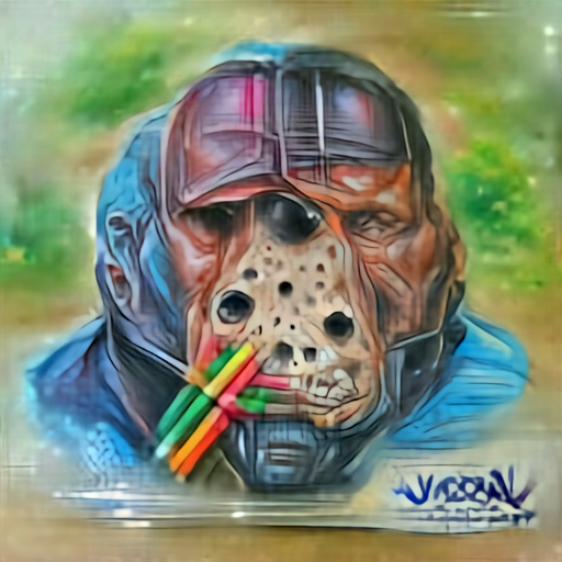 'a color pencil sketch of Jason Vorhees made of plastic' Aleph2Image Dall-E Remake Text-to-Image
