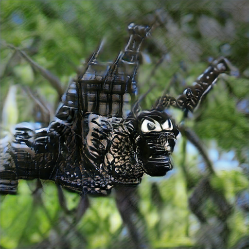'King Kong made of wrought iron in the style of Frida Kahlo' Big Sleep Minmax Text-to-Image