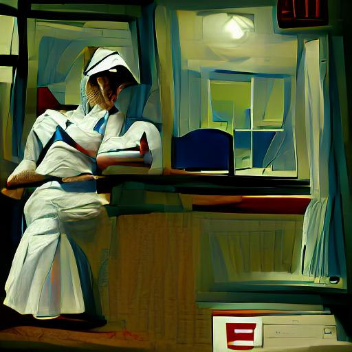 'a nurse in the style of Edward Hopper' VQGAN+CLIP v4 Text-to-Image