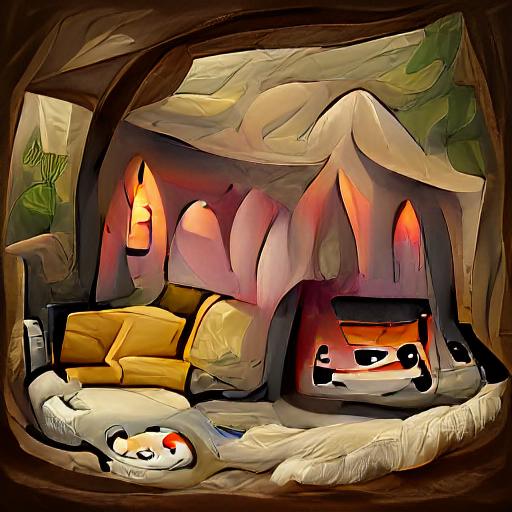 'a fine art painting of a cozy den' VQGAN+CLIP v4 Text-to-Image