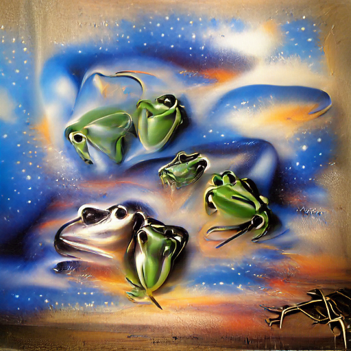 'an airbrush painting of frogs' VQGAN+CLIP v3 Text-to-Image