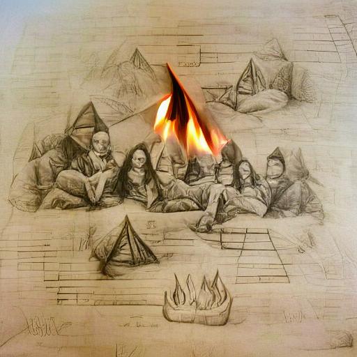 'a pencil sketch of a campfire in the style of Da Vinci' VQGAN+CLIP v3 Text-to-Image