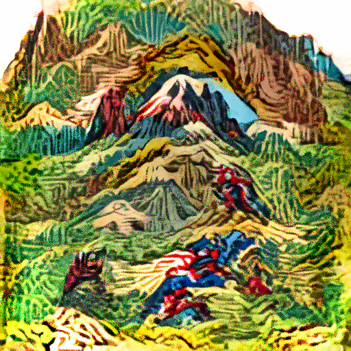 'a woodcut of a mountain range in the style of Marvel Comics' OpenAI DVAE+CLIP Text-to-Image