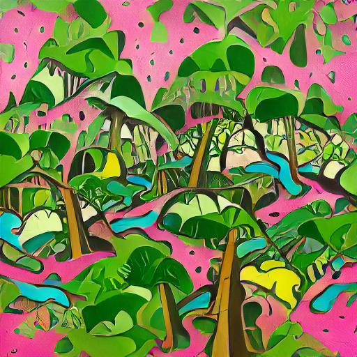 'a pop art painting of a lush rainforest' VQGAN+CLIP v3 Text-to-Image