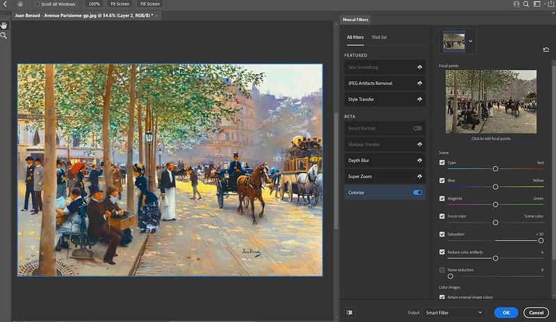 Screenshot of Neural Filter Colorize settings
