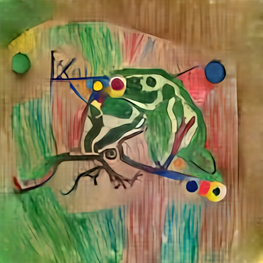 'a green tree frog in the style of Kandinsky' Aleph2Image Dall-E Remake Text-to-Image