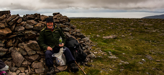 Lunch in the shelter of the cairn
