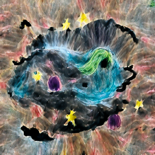 'a childs drawing of a space nebula' VQGAN Gumbel Text-to-Image