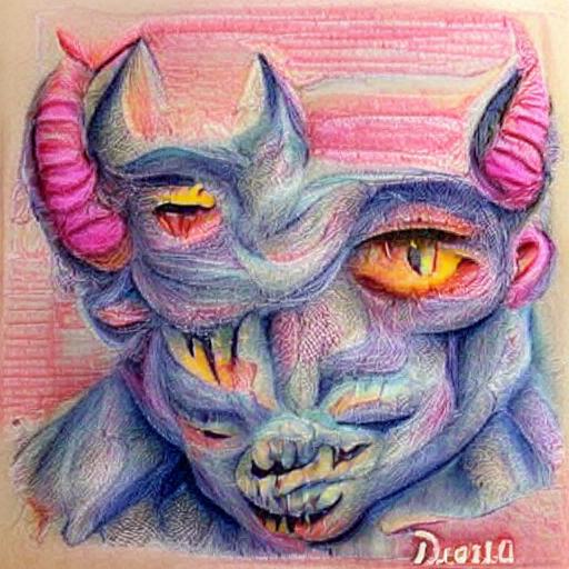 'a pastel of a demon' VQGAN+CLIP v4 Text-to-Image