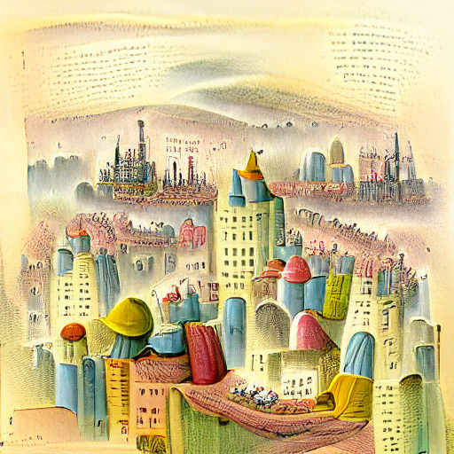 'a storybook illustration of a cityscape' VQGAN+CLIP v3 Text-to-Image