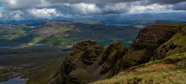 Looking down A' Chioch to Lochan Coire na Poite