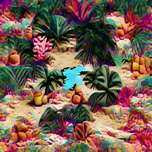 'a tropical beach in the style of Polock' VQGAN Gumbel Text-to-Image
