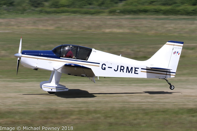 G-JRME - 2009 build Jodel D140E Mousquetaire, arriving on Runway 26L at Barton