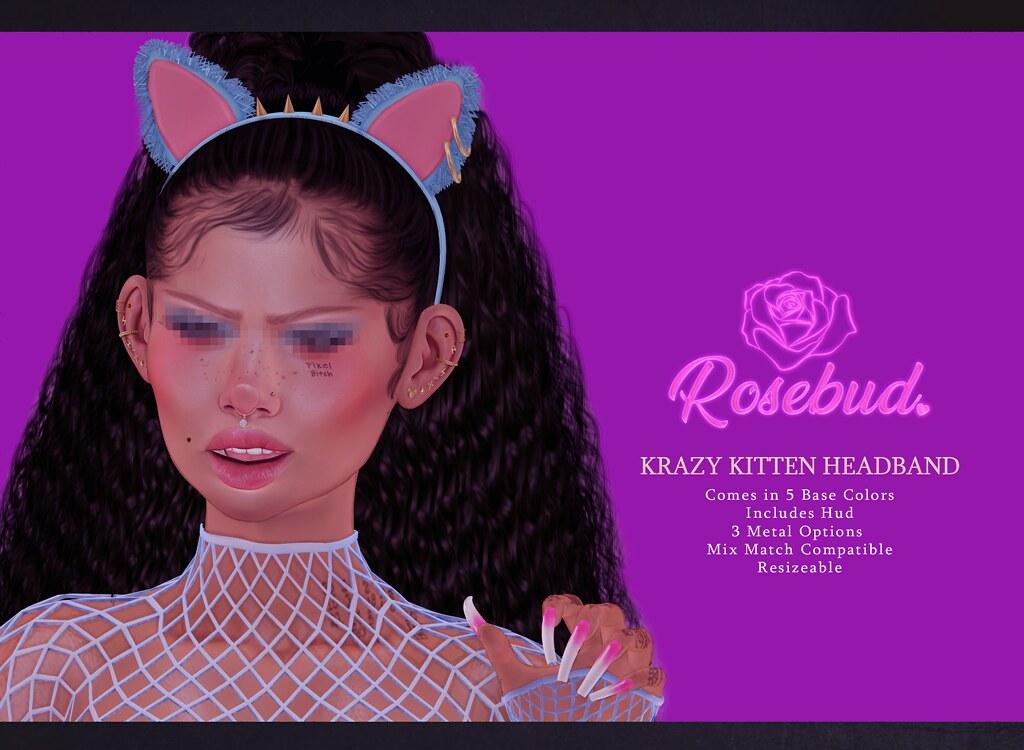 {Rosebud.} Krazy Kitten Headband