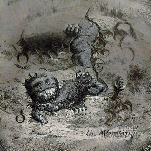 'a midnineteenth century engraving of a cute monster' Text2Image VQGAN Text-to-Image