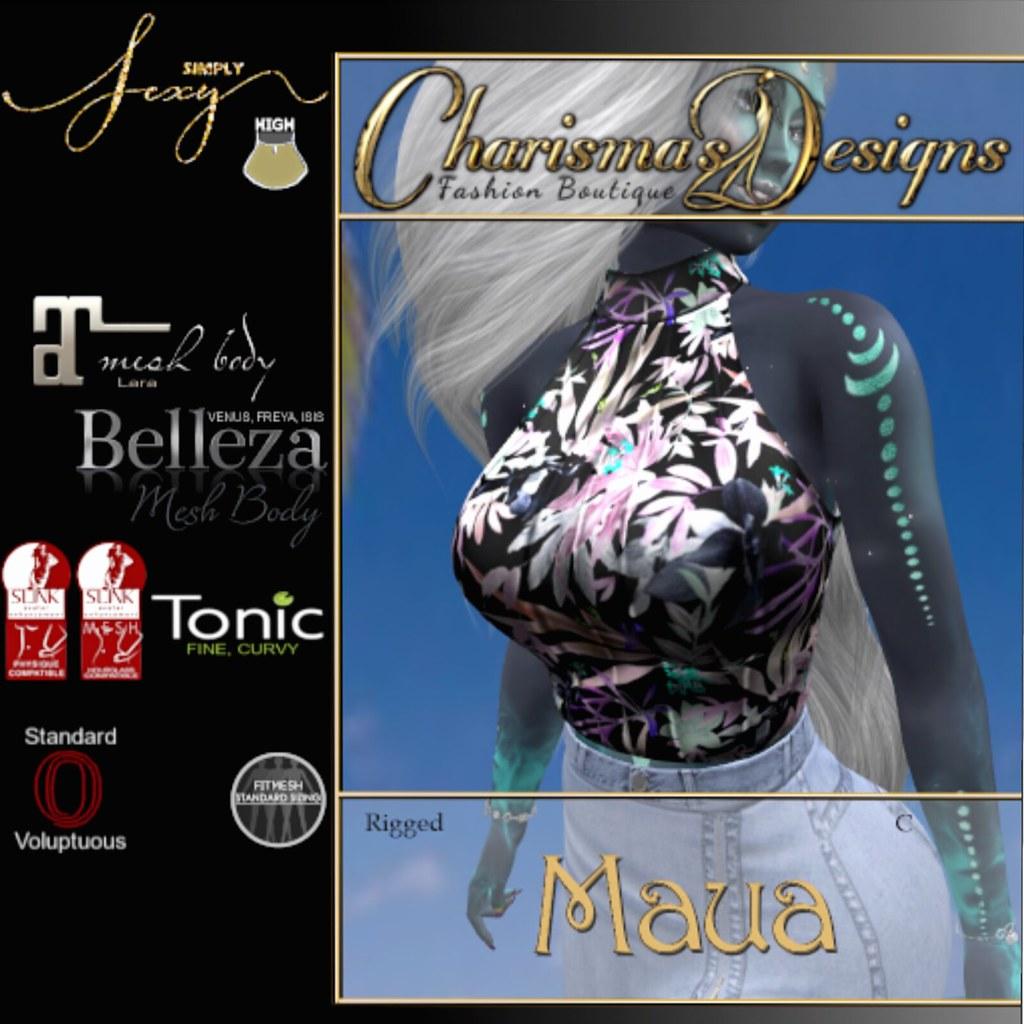 Charisma's Designs – Maua Halter in Tropical Black