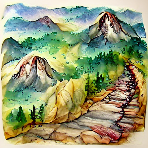 'a watercolor painting of a mountain path' VQGAN+CLIP v4 Text-to-Image