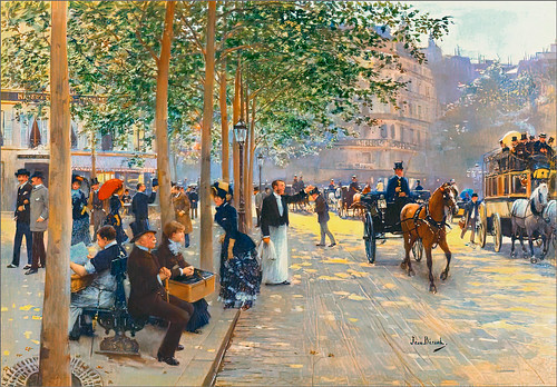 Jean Beraud's Avenue Parisienne from 1880's lightened up with PS Neutral Filter Colorize.