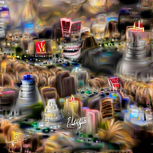 'a digital painting of the Las Vegas strip' Text2Image VQGAN Text-to-Image