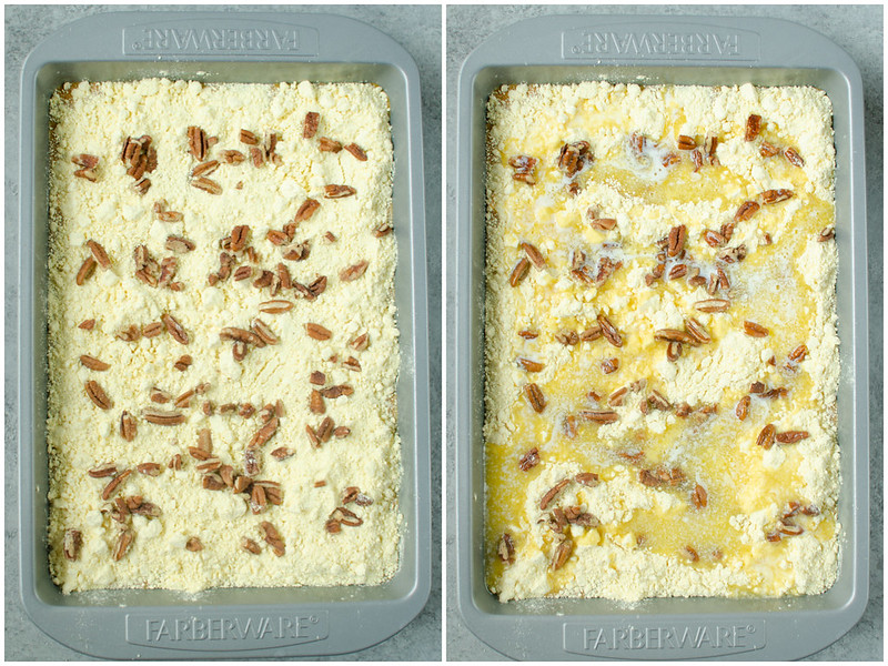 Making pumpkin crunch cake in a 9x13-inch pan; yellow cake mix, pecans, and butter