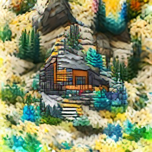 'a mountain cabin' OpenAI DVAE+CLIP Text-to-Image