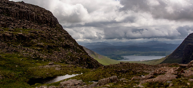 View to Kintail and Kishorn from the base of the craggy bit