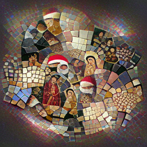 'a mosaic of christmas' MSE VQGAN+CLIP z+quantize Text-to-Image