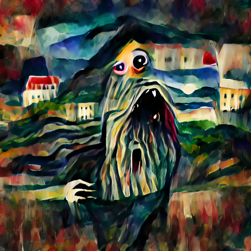 'a movie monster in the style of Edvard Munch' VQGAN Gumbel Text-to-Image