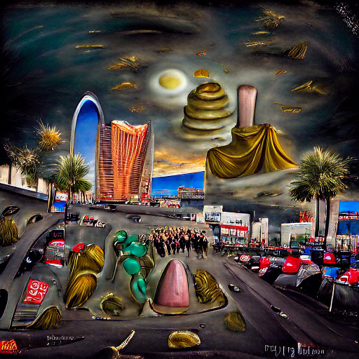 'a surrealist painting of the Las Vegas strip' Monster Maker Text-to-Image