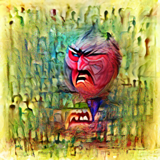 'an angry person' OpenAI DVAE+CLIP Text-to-Image