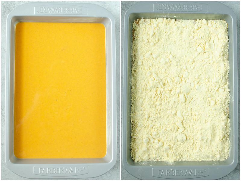 Making pumpkin crunch cake in a 9x13-inch pan; pumpkin pie filling and yellow cake mix