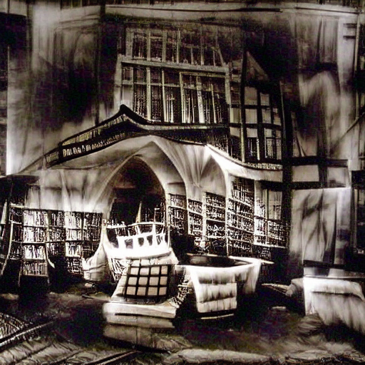'a black and white photo of a library in the style of Rembrandt' Monster Maker Text-to-Image