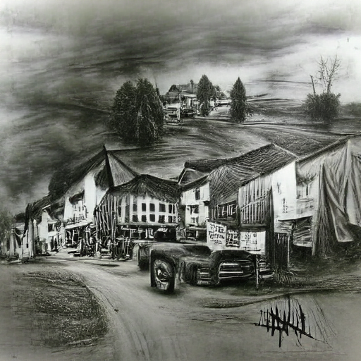 'a charcoal drawing of a country town' MSE VQGAN+CLIP z+quantize Text-to-Image