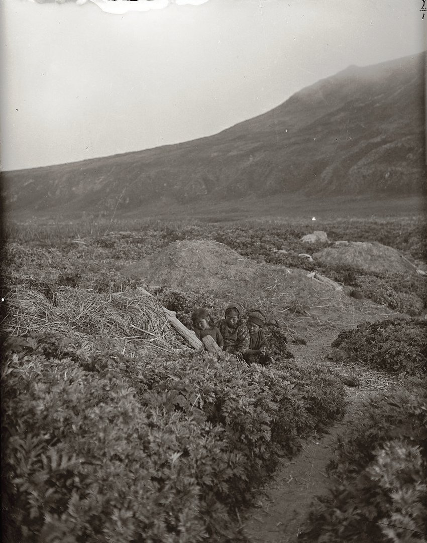1909. 24 июня. Алеутские землянки. Атту остров