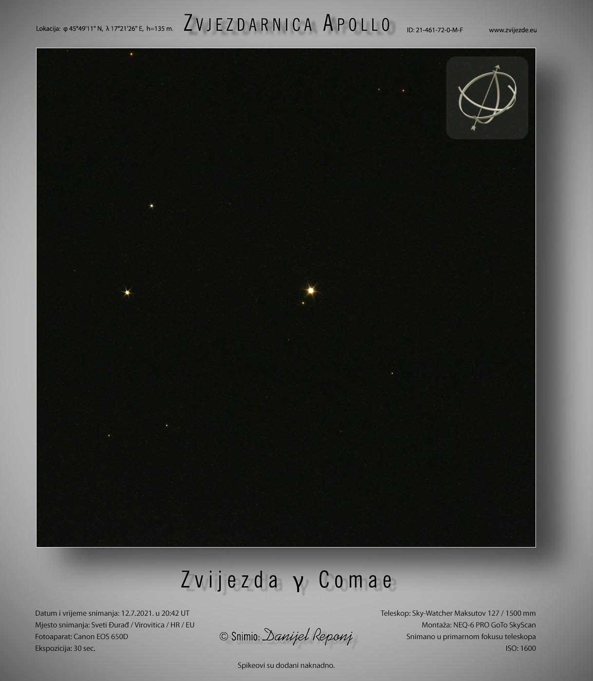 Zvijezda gama Berenikine kose, 12.7.2021.