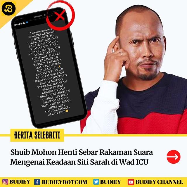 Shuib Mohon Henti Sebar Rakaman Suara Mengenai Keadaan Siti Sarah Di Icu
