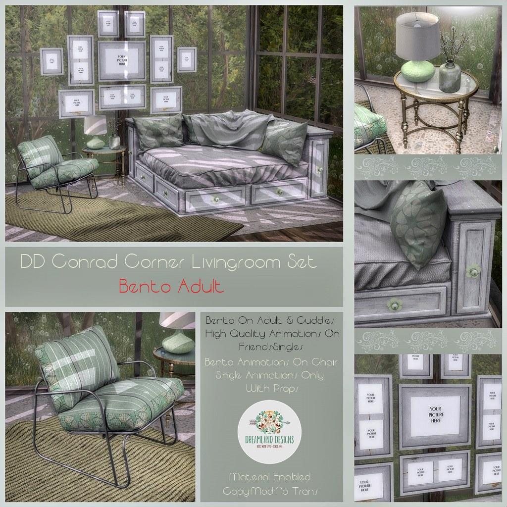 DD Conrad Corner Couch Livingroom Set-Adult