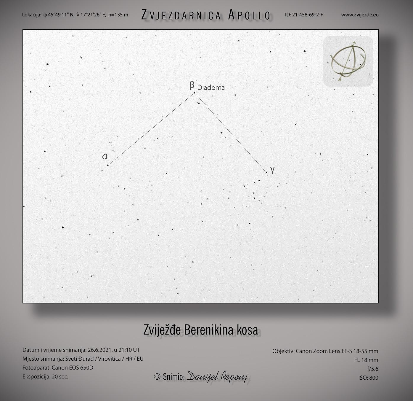 Zviježđe Berenikin kosa, 26.6.2021.