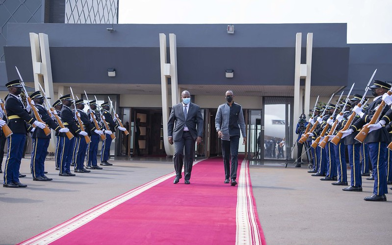 President Kagame bids farewell to President Faustin-Archange Touadéra of the Central African Republic   Kigali, 8 August 2021