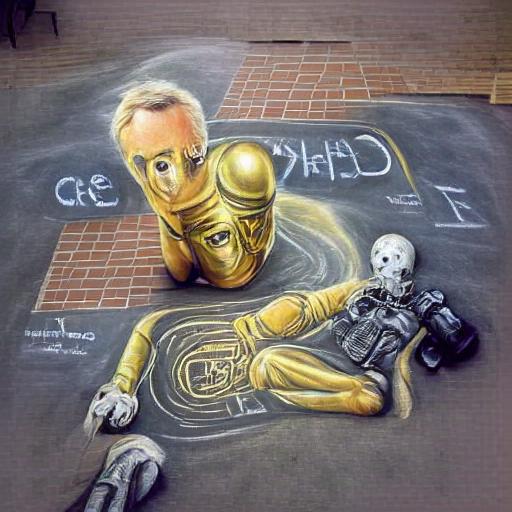 'chalk art of C-3PO' MSE Regulized VQGAN+CLIP
