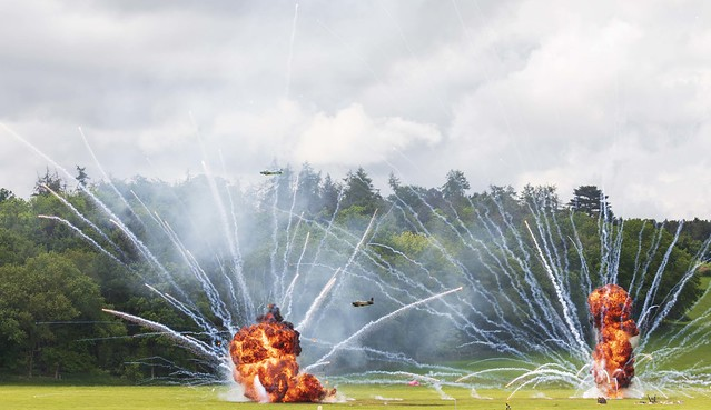 Two model aircraft at the Midlands Air Festival 2021 with pyrotechnics!