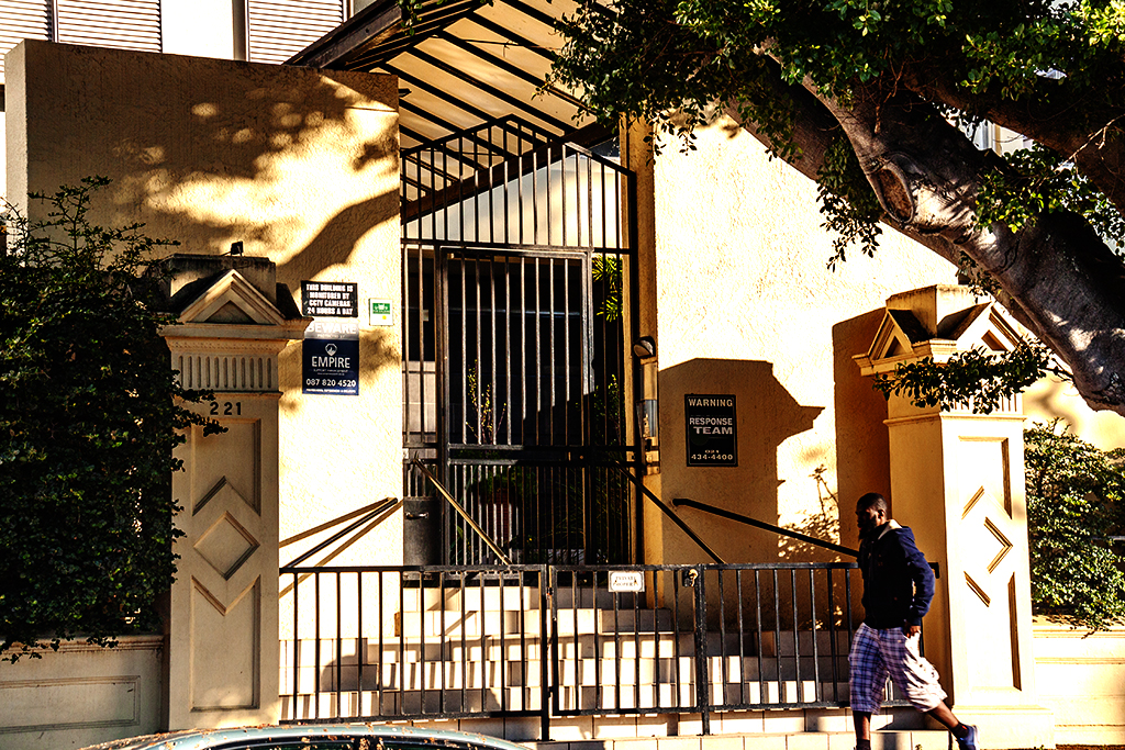 Gate at Three Anchor Bay apartment building on 8-6-21--Cape Town