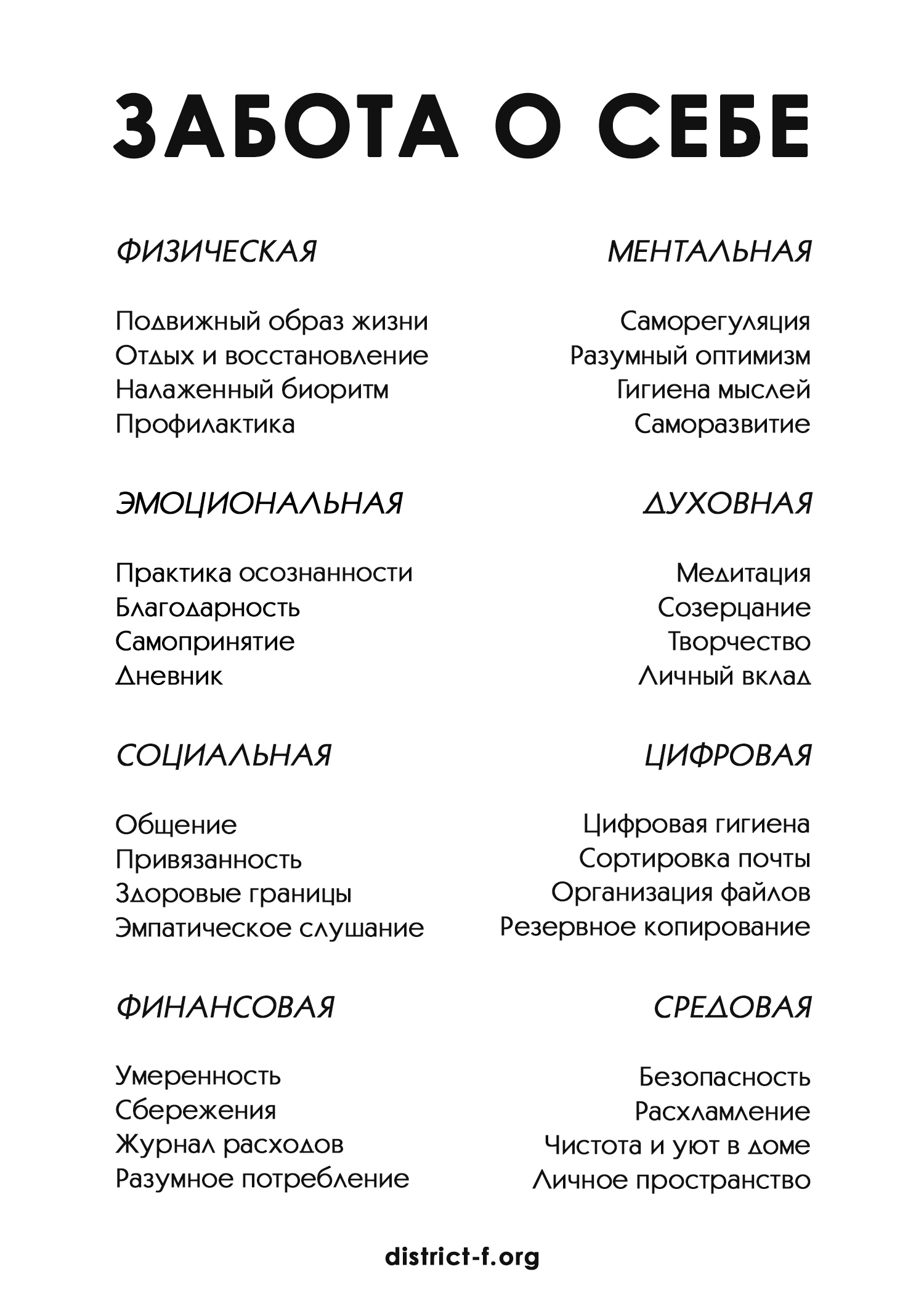 ИДЕИ ЗАБОТЫ О СЕБЕ SELFCARE DISTRICT F 2 df