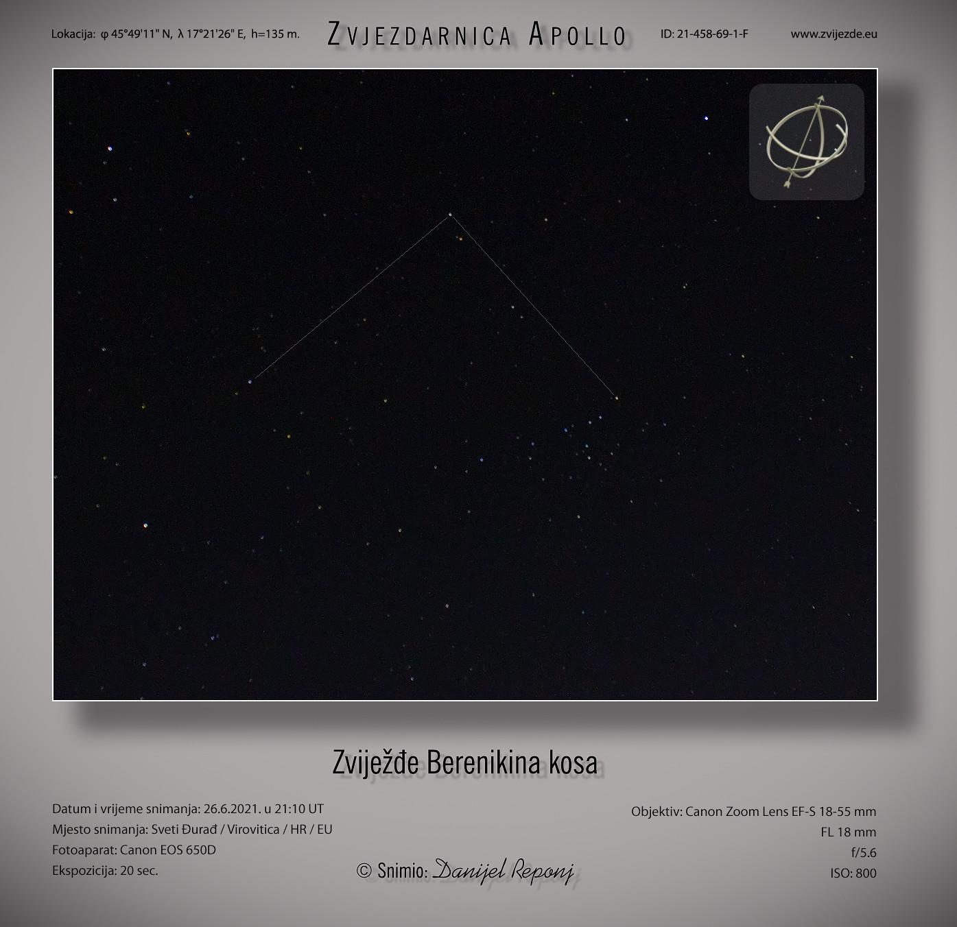 Zviježđe Berenikina kosa, 26.6.2021.