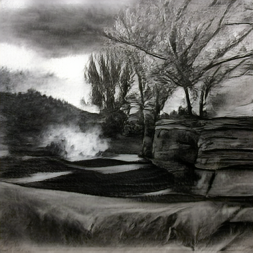 'a charcoal drawing of a landscape' Big Sleep Text-to-Image