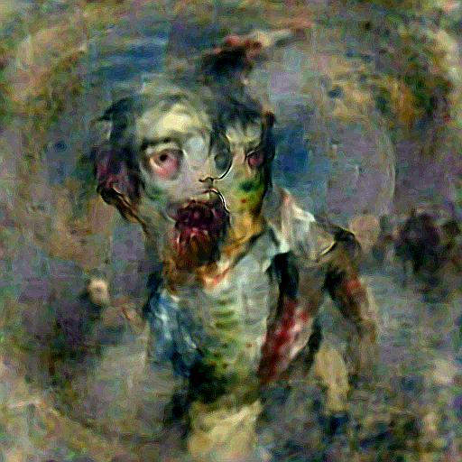 'a zombie in the style of Turner' Deep Daze Text-to-Image