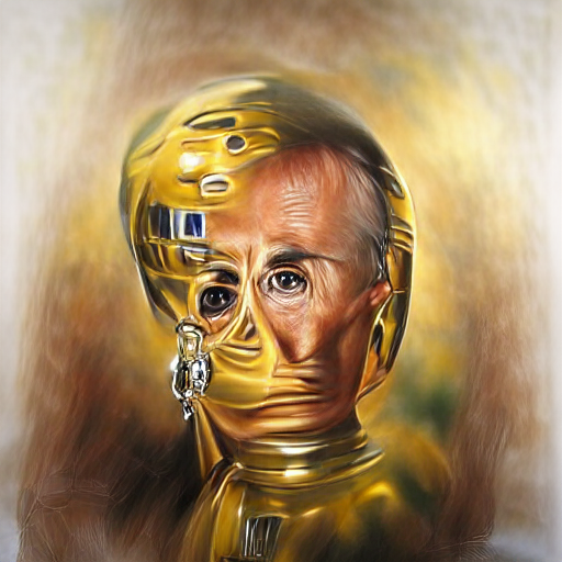 'a hyperrealistic painting of C-3PO' Sequential VQGAN+CLIP