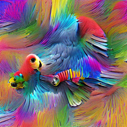 'a colorful parrot' Sequential VQGAN+CLIP