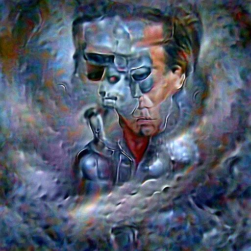 'a surrealist painting of the Terminator made of silver' Deep Daze Text-to-Image